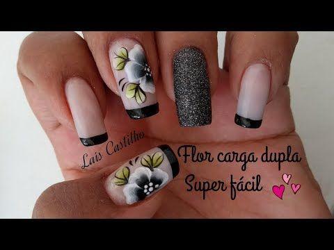 Unhas decoradas muito fácil flor em carga dupla pra iniciantes Laís Castilho - YouTube