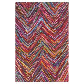 Bring worldly charm to your living room or den with this eye-catching cotton rug, showcasing a cosmopolitan zigzag motif in a vibrant palette. Product: RugConstruction Material: CottonColor: Pink and multiFeatures: Handmade in IndiaDurable cotton canvas backingNote: Please be aware that actual colors may vary from those shown on your screen. Accent rugs may also not show the entire pattern that the corresponding area rugs have.Cleaning and Care: Professional cleaning recommended