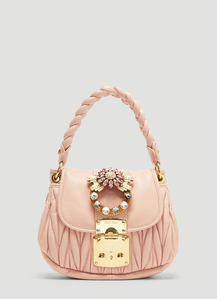 bdf8a705edb MIU MIU LEATHER COFFER SHOULDER BAG IN PINK.  miumiu  bags  shoulder bags   hand bags  lining  leather  crystal