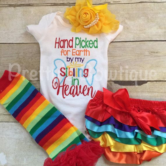 Handpicked By My Siblings In Heaven Bodysuit Set