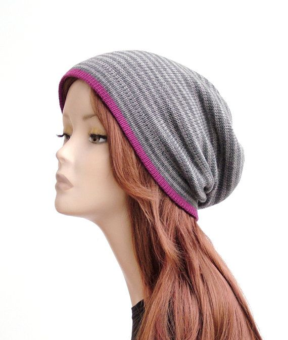 Soft pure merino wool slouchy beanie, striped grey knit hat with fuchsia edge by rukkola on Etsy #woolhat #womensknithat #slouchybeanie