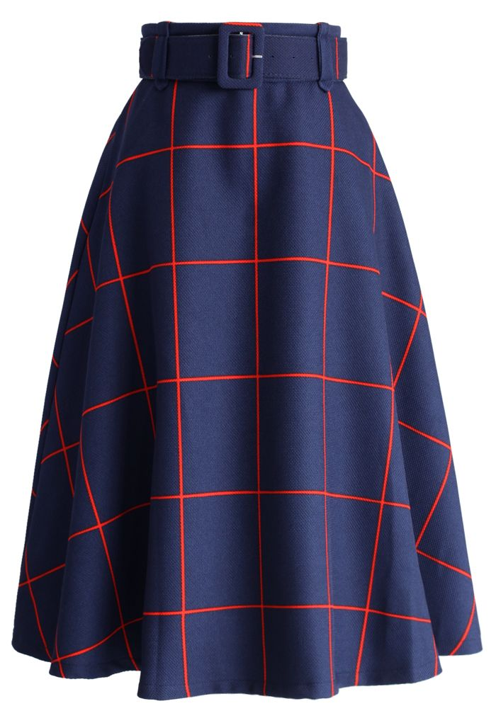 Sway the Plaids Belted Midi Skirt in Navy - New Arrivals - Retro, Indie and Unique Fashion