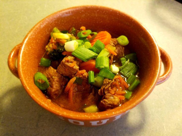 Yummy Spicy Beef Ramen soup!! So tasty!   #keto #paleo #beef #ramen #soup #beefsoup #dutchoven #slowcooker