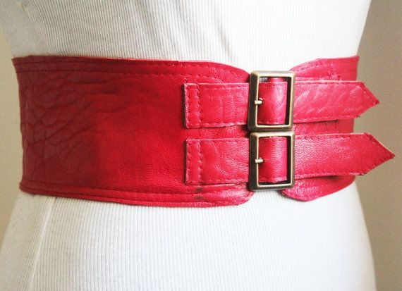 SALE Red corset Leather Two Gold Buckle Belt  Red by LoveYaaYaa