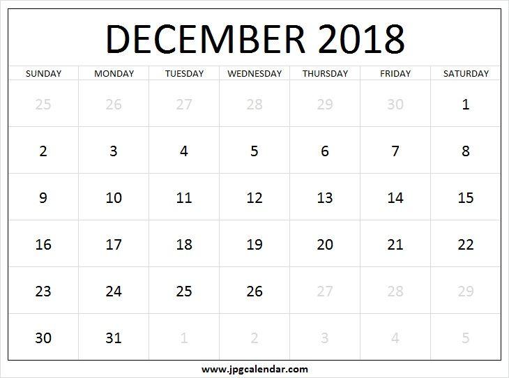 december 2018 calendar large printable