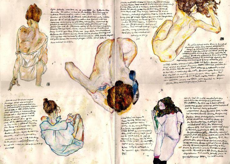 Renderings of Egon's Schiele's art by ObjectivelyArtsy
