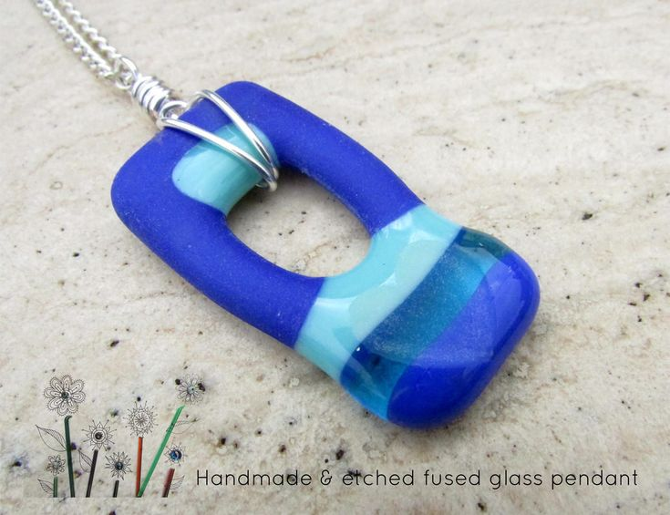 Fused Glass Pendant Necklace, Etched Heart Pendant Chain, Wire Wrapped Glass Pendant, Womens Blue Necklace Gift, Holiday Fun Necklace Gift by JenWillson on Etsy