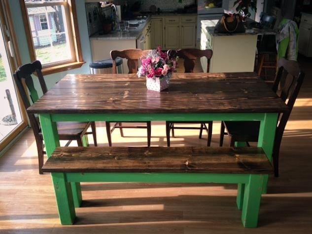 farmhouse style kitchen table with funky green legs this is a 6 farmhouse table with matching bench emmor kitchen and dining pinterest farmhouse. Interior Design Ideas. Home Design Ideas