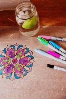 "Wild, Crazy Grace: Mandala ""stained glass"" with wax paper and sharpies."