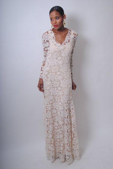 Bohemian Wedding Dress Crochet Lace Long Sleeve Boho