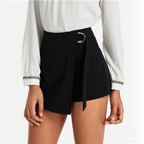 Wrap Solid Knot Shorts 2019 Black Chic Plain Women Summer Streetwear Shorts Posh Belted Zipper Fly Mid Waist Shorts Black S 1