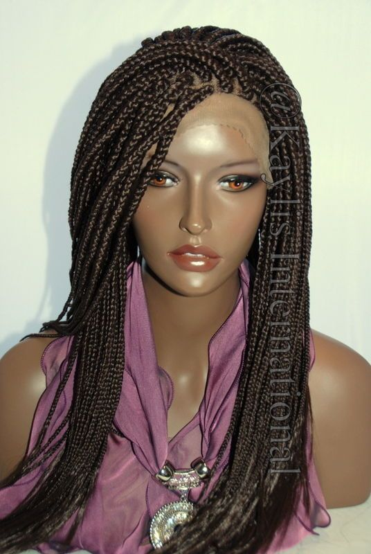Crochet Braids Color 33 : Fully hand braided lace front wig - Anita color #33 in 22 Box braid