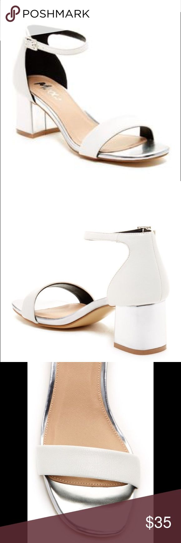 Mixx Shuz • Sally Chunky Heel New without box! Never worn. Adorable white and silver chunky heels with ankle strap. Very comfy and will go with everything! Looks great paired with skinny jeans. No trades. Mixx Shuz Shoes Heels