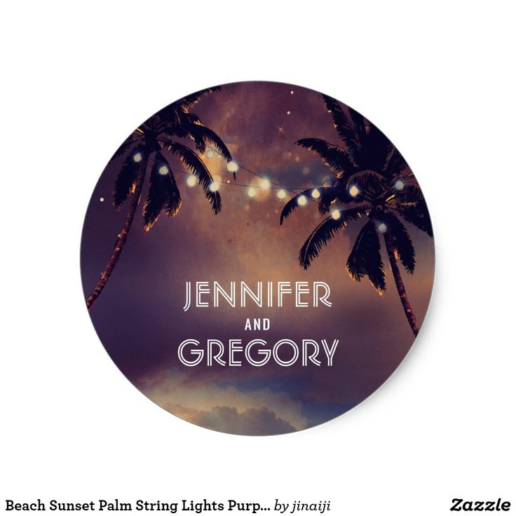 Beach Sunset Palm String Lights Purple Wedding Classic Round Sticker Enchanted sunset beach wedding seals with palms and string lights