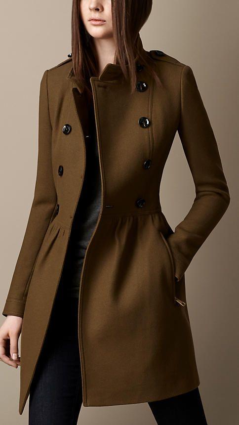 WOOL TWILL DRESS COAT