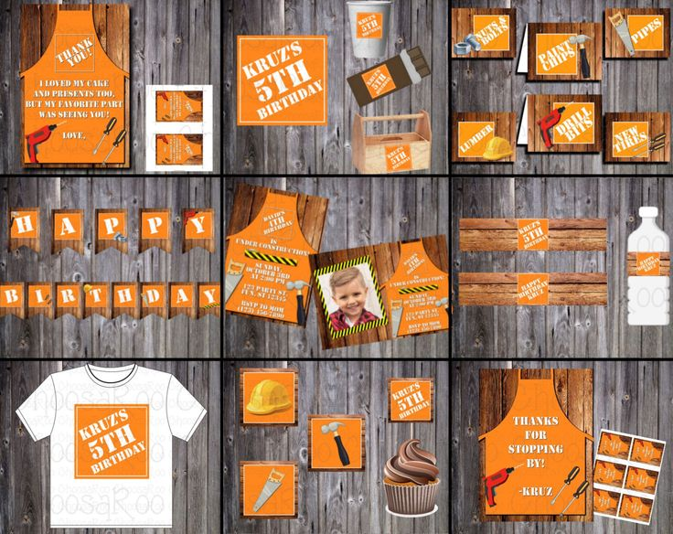 HOME DEPOT CONSTRUCTION Party Printable Invitation & Decor Package by ChoosaRoo on Etsy https://www.etsy.com/listing/273198422/home-depot-construction-party-printable