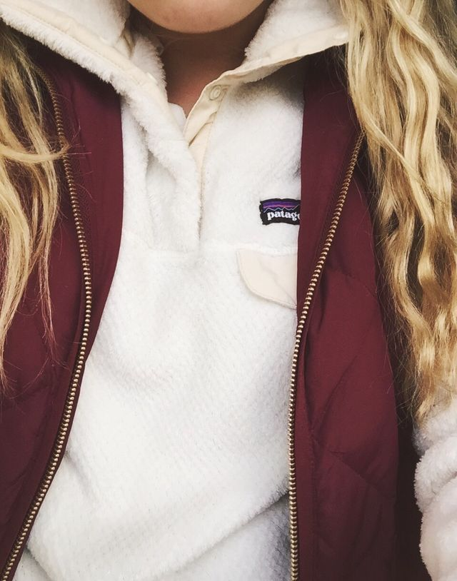 patagonia pull over + quilted vest {love the color combo!}