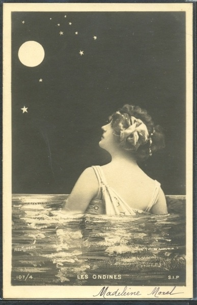 The Sea Nymph and the Moon, Edwardian postcardVintage Postcards, 1910 S, Moon 1910S, Vintage Photographers, Beautiful Moon, Sea Nymphs, 1910S Postcards, The Sea, The Moon