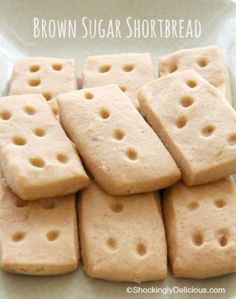 Brown Sugar Shortbread | ShockinglyDelicious.com. Try them half dipped in chocolate.