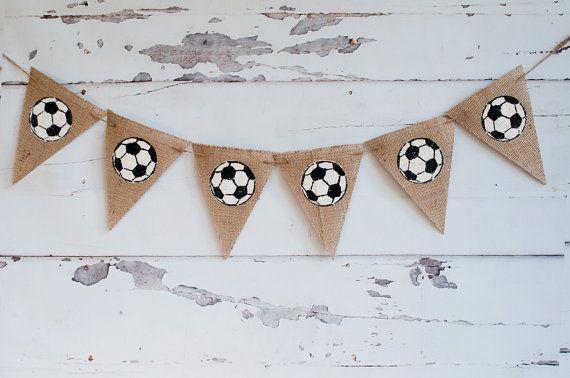 Fútbol bandera de arpillera, fútbol bandera, fútbol decoración, signo partido de fútbol, partido de fútbol, B208