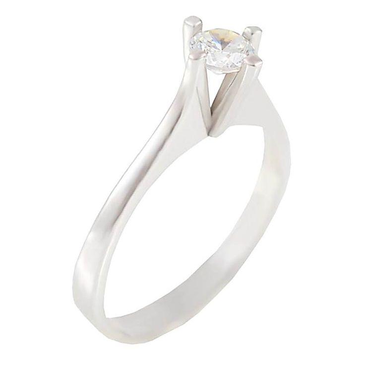ΕΜ35Ζ- Λευκόχρυσο μονόπετρο δαχτυλίδι με ζιργκόν