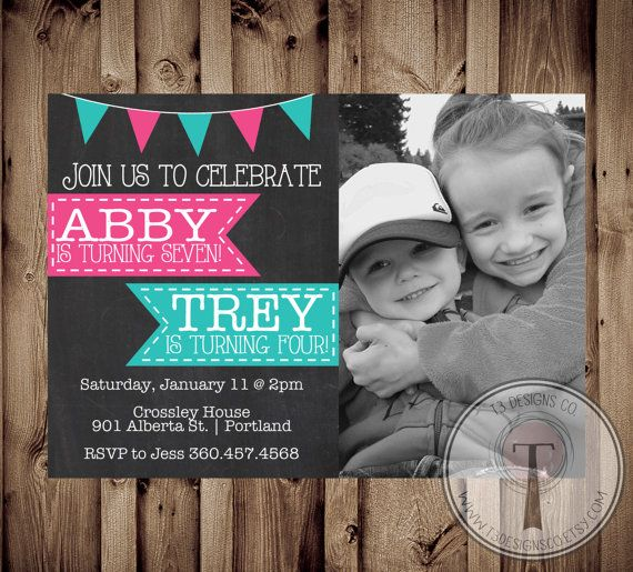 Joint Birthday Party Invitation, Boy and Girl photo birthday invite, photo birthday invitation, double birthday, brother sister, joint party on Etsy, $15.00