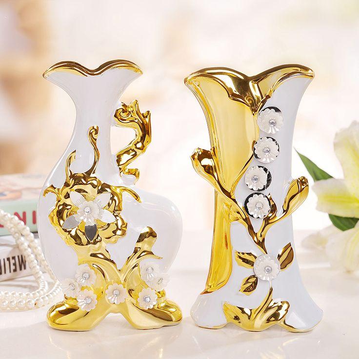 Jingdezhen cerámica de estilo europeo casado del hogar artículos de equipamiento de estar sala de adorno de la flor florero chapados en oro