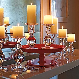 glass, red and candle display - love it.: Ideas, Glasses Candlesticks, Oslo Candlesticks, Candle Holders, Candles Holders, Candles Sticks, Pedestal Trays, Oslo Glasses, Cakes Stands