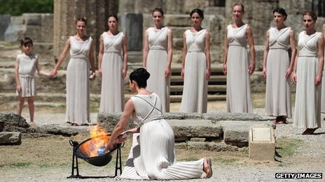 10 May 2012. The Olympic flame being lit at the Temple of Hera in Greece before beginning its journey to the London 2012 Olympic Games. Arriving in the UK on 18 May 2012.
