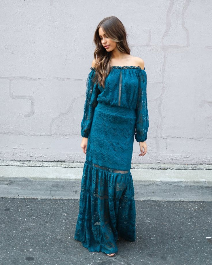 Victorian Crochet Lace Maxi Dress - Teal