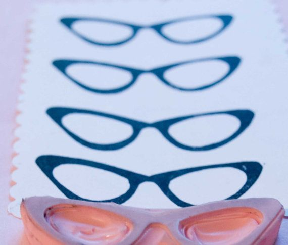 NEW Eyeglasses Rubber Stamp Hand Carved For Card by PoshBinky, $6.00