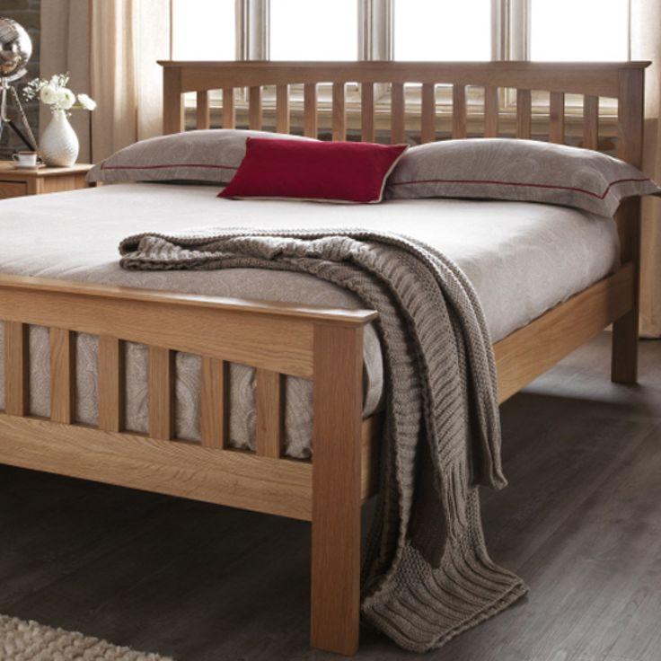 The Windsor - the light oak bedframe is finished with a wax, allowing the beautiful grain of the solid oak to show through.