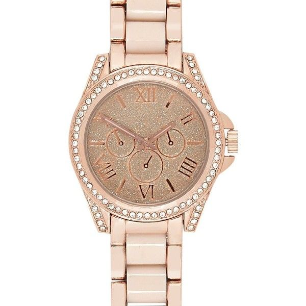 River Island Rose gold glittery statement watch ($46) ❤ liked on Polyvore featuring jewelry, watches, accessories, red gold jewelry, rose gold jewelry, rose gold jewellery, pink gold jewelry and dial watches