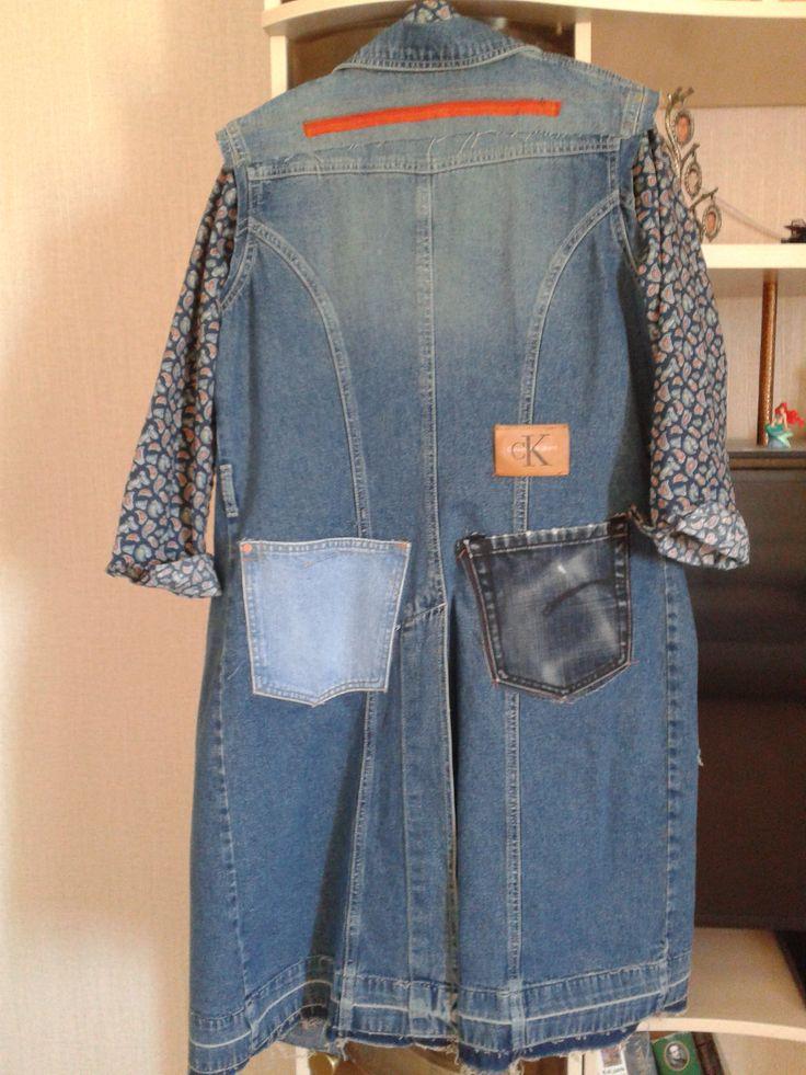 Переделка из обычного джинсового пальто (забыла сфоткать состояние ДО). автор Наталья Уткина, т.е. я :о) апрель 2016