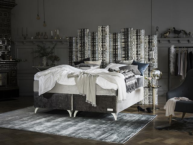 Beautiful bed, a collaboration between the well known Carpe Diem Beds of Sweden and Designers Guild.