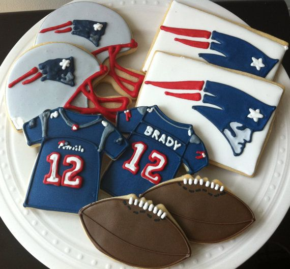 New England Patriots Football Decorated Cookies- jersey, helmet, football, team logo, boston