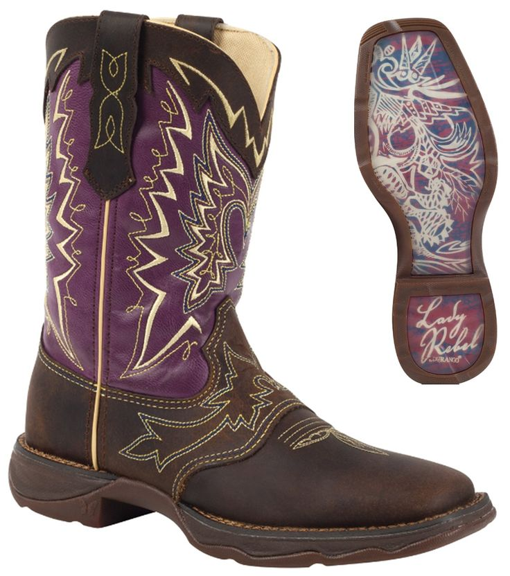 """Durango Boots - REBEL Let Love Fly - Women's 10"""" Leather Western Boots - Purple/Brown"""