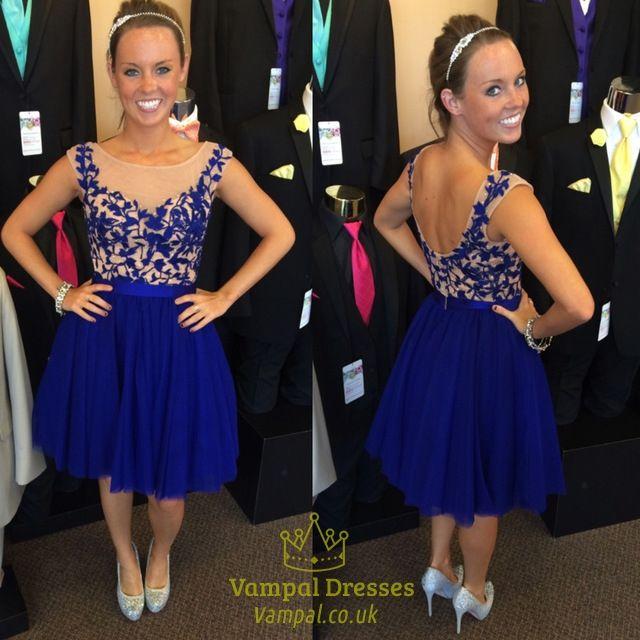 vampal.co.uk Offers High Quality Royal Blue Sleeveless Illusion Neckline…