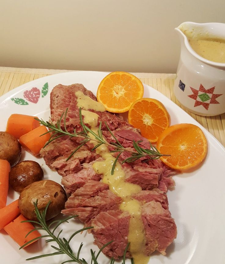 Pressure Cooker Corned Beef with White Wine Brandy Mustard Sauce Image