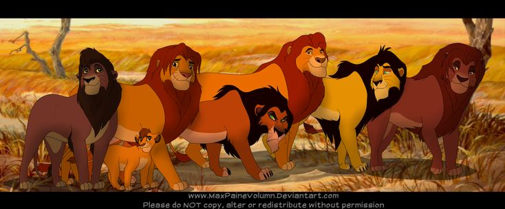 The Kings of Pride Rock; including Kopa, the king that never was. Background is a screenshot from the first film. Left to right: Kovu, Kopa, Simba, Scar/Taka, Mufasa, Ahadi, and Mohatu.