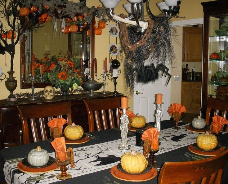 eat drink and be scary simple black halloween table setting ideas