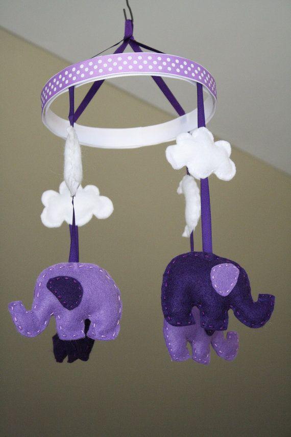Baby Crib Mobile- Baby Mobile- Baby Elephant Mobile-Dark Purple and Light Purple Felt Nursery Mobile (Pick Your Colors)