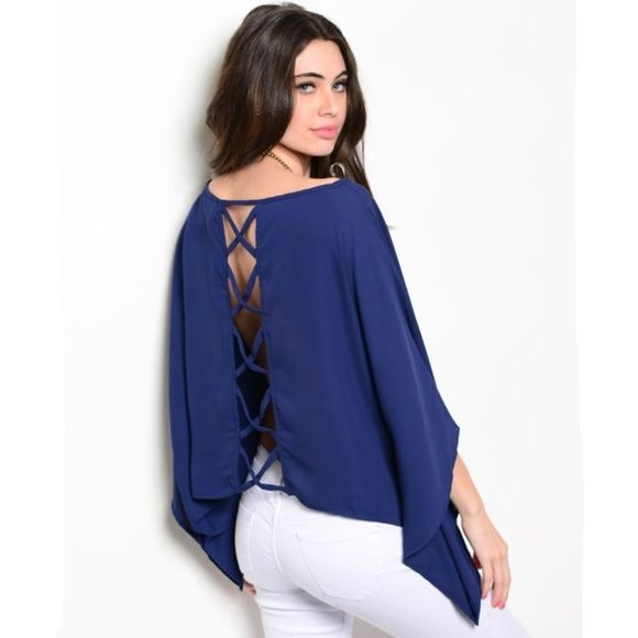 REDUCED Navy Top Woven top features batwing flutter sleeves and relaxed fit. 100% polyester. Tops