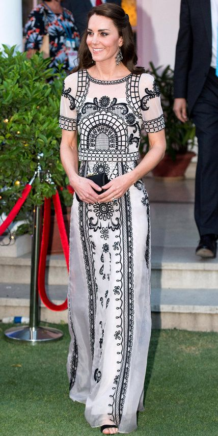 The Duchess stunned in black and white Temperley London during her second day in India, when she attended a party celebrating Queen Elizabeth's 90th birthday.