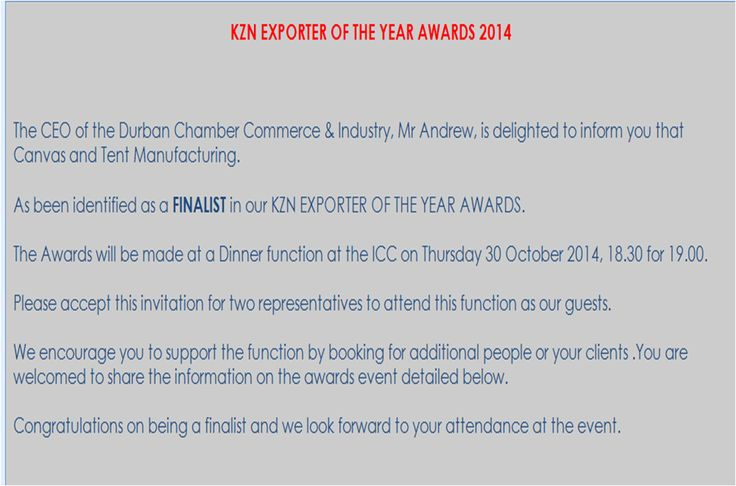 Guess who made it as a FINALIST for KZN(South Africa) exporter of the year :D :D ?
