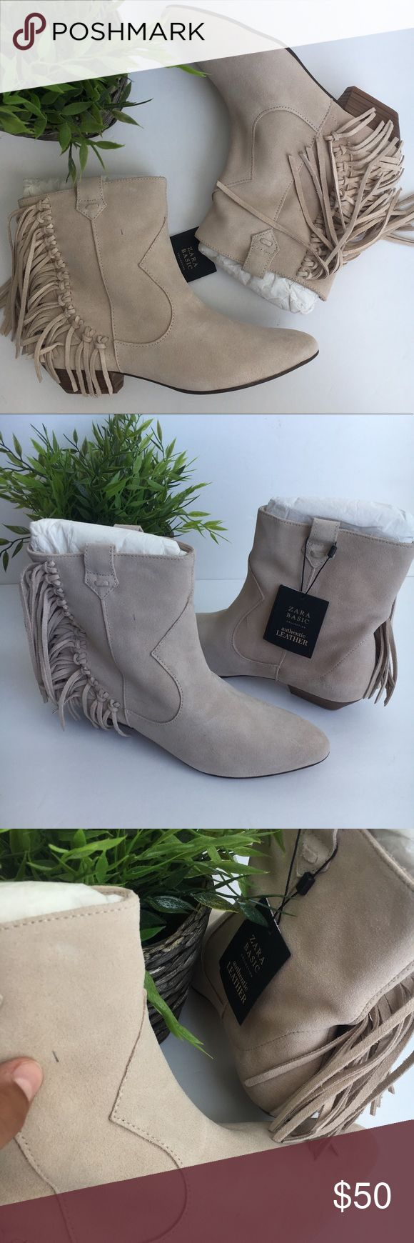 ZARA LEATHER fringe western booties ankle boots 8 Hi and thank you for viewing this beauty! :)   This item is very gently used and in new condition! No flaws stains or holes and comes from a smoke free home.   Heel height: 2 cm  Offers are welcome and I offer bundle discounts.   Please let me know if you have any questions!   xxxxxxx Zara Shoes Ankle Boots & Booties