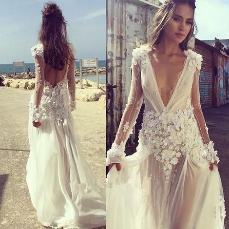 4292bbd73f Sexy Boho Beach Wedding Dress 2019 V Neck Long Sleeves Appliques Lace 3D  Flowers Backless Wedding Gown Bride Dress Bridal Gown