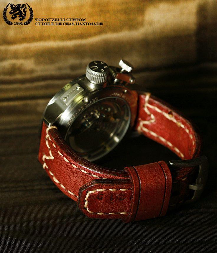 """Topouzelli custom 281a - Curele de ceas din piele lucrate de mana la comanda. jeanraval@gmail.com 0727167802 0771296409 Curea de ceas 120/75/23 mm. Model """"Unterboat 121"""". 2 bride rezerva, cert. autenticitate.  Unicat. Piele tabacita natural, cusuta de mana. 110 lei"""