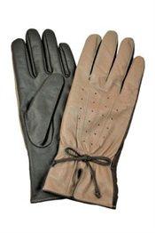 Bloom Copenhagen skind fingerhandsker i brun og nude med fint mønster