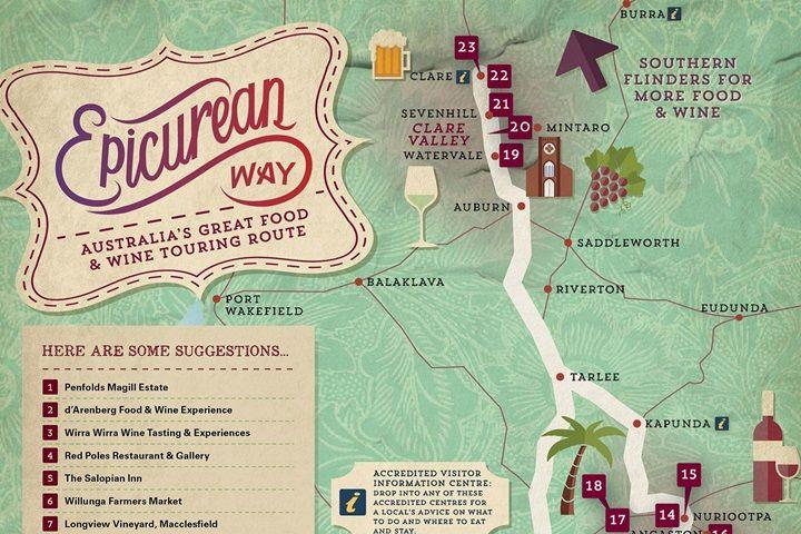 Epicurean Way road trip map